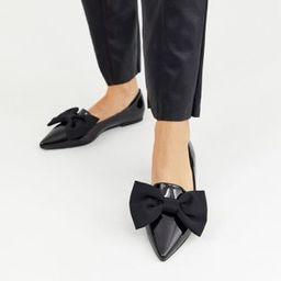 ASOS DESIGN Lake bow pointed ballet flats in black | ASOS (Global)