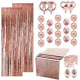 Rose Gold Party Decoration, Rose Gold Bridal Shower Decorations with Rose Gold Balloons, Foil Curtai   Walmart (US)