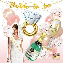 Bachelorette Party Decoration Rose Gold Bridal Shower Decorations kit Bride To Be Banner Veil Sash f   Walmart (US)