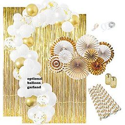 Gold Party Decorations: Gold Balloons, Weddings Decorations White Balloon Garland Kit Paper Fans Gol   Walmart (US)