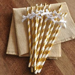Baptism Decorations. Handcrafted in 1-3 Business Days. Metallic Gold Straws with White Bows 10CT.   Walmart (US)