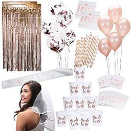 Rose Gold Pink Bachelorette Party Supplies Decorations Kit Balloons, Backdrop, Cups, Straws, Tattoos   Walmart (US)