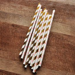 Pink and Gold First Birthday. Ships in 1-3 Business Days. Paper Straws. Metallic Gold Striped and He   Walmart (US)