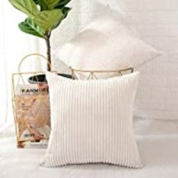 MERNETTE Pack of 2, Corduroy Soft Decorative Square Throw Pillow Cover Cushion Covers Pillowcase,... | Amazon (US)