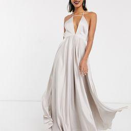 ASOS EDITION plunge cami maxi dress with full skirt-Grey | ASOS (Global)