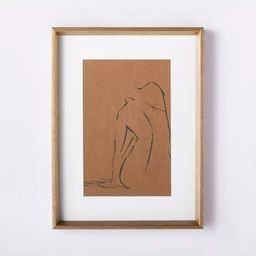 """12"""" x 16"""" Woman Figural Sketch Framed Wall Art Tan - Threshold™ designed with Studio McGee   Target"""
