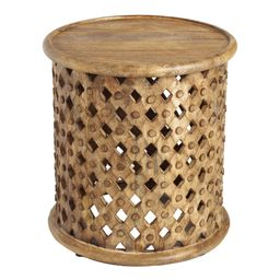 Round Lattice Carved Wood Accent Table: Brown by World Market   World Market