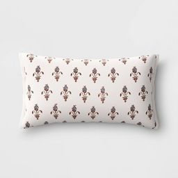 Lumbar Floral Embroidered Pillow with Beads Cream/Blue - Threshold™   Target