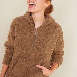 Cozy Teddy Sherpa Half-Zip Tunic Hoodie for Women   Old Navy (US)