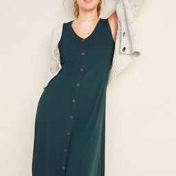 Rib-Knit Button-Front Sleeveless Midi Dress   Old Navy (US)