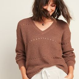 Textured Pointelle-Knit V-Neck Sweater for Women   Old Navy (US)