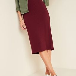 High-Waisted Rib-Knit Pencil Midi Skirt for Women   Old Navy (US)