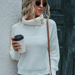 Turtleneck Pearls Button Drop Shoulder Sweater   SHEIN