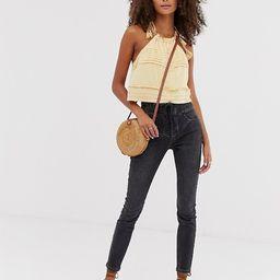 Free People Curvy Lovers knot super high waist jeans in black   ASOS   ASOS (Global)