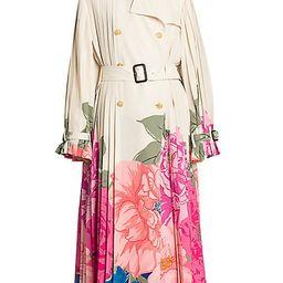 Valentino Women's Camelia Floral Plissé Silk Trench Coat - Avorio Fuchsia - Size 40 (4) | Saks Fifth Avenue