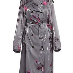 Dries Van Noten Women's Floral Trench Rain Coat - Grey - Size Small | Saks Fifth Avenue