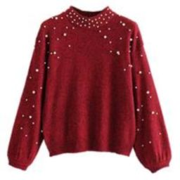 'Sabah' Pearl Studded Mock Neck Sweater (2 Colors)   Goodnight Macaroon