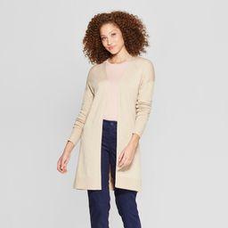 Women's Back Belt Open Cardigan Sweater - A New Day Oatmeal M   Target