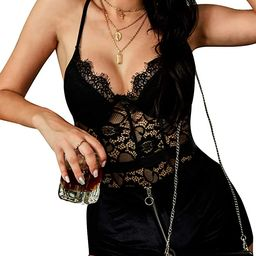 Women's Sexy Eyelash Lace Bodysuit Naughty Teddy Lingerie   Amazon (US)