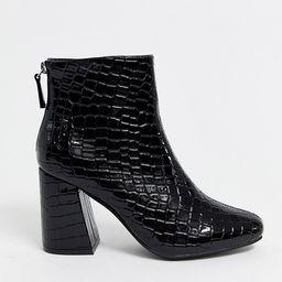 New Look square toe flare heel croc boot in black   ASOS (Global)