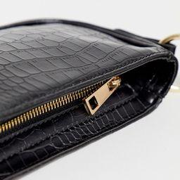 ASOS DESIGN croc effect 90s shoulder bag in black   ASOS (Global)