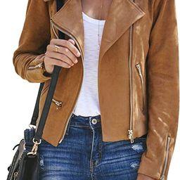 Blibea Women's Zipped Notch Collar Moto Biker Jacket Casual Short Coat Outwear | Amazon (US)