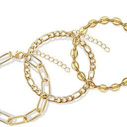 JA.S.JR 3Pcs 14K Gold Plated Chain Bracelet for Women Fashion Simple Bracelet | Amazon (US)