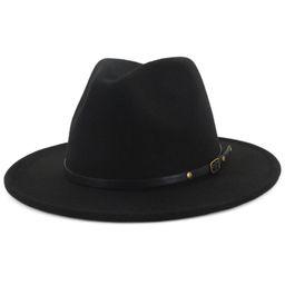 KABOER Women'S Fashion Wool Felt Jazz Fedoras Hats Belt Buckle Wide Brim Panama Trilby Cowboy Cap... | Walmart (US)