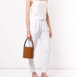 drawstring linen trousers | Farfetch (US)