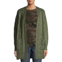 Time and Tru Women's Cable Stitch Two Pocket Cardigan   Walmart (US)