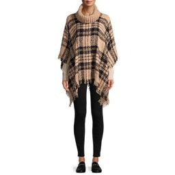 Time and Tru Women's Plaid Boucle Poncho with Ribbed Cowl Neck   Walmart (US)