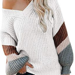 FAFOFA Women's V Neck Long Sleeve Striped Knitted Chunky Pullover Sweater | Amazon (US)