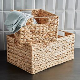 Cases of Water Hyacinth Storage Bins with Handles | The Container Store