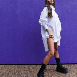 ASOS DESIGN oversized boyfriend mini shirt dress in white | ASOS (Global)