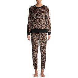 Secret Treasures Women's and Women's Plus Velour Top and Joggers, 2-Piece Lounge Pajama Set | Walmart (US)