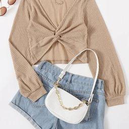 SHEIN Twist Front Rib-knit Crop Top   SHEIN
