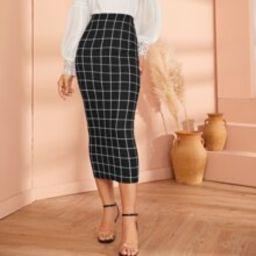 Grid Pencil Skirt | SHEIN