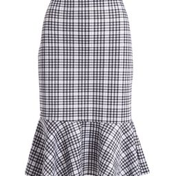 jon & anna Women's Casual Skirts Black/White - Black & White Plaid Ruffle-Hem Pencil Skirt - Women | Zulily