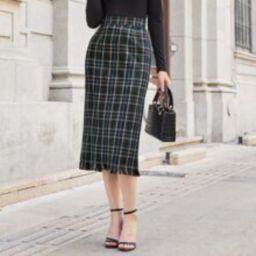 Split Back Raw Hem Tartan Skirt | SHEIN