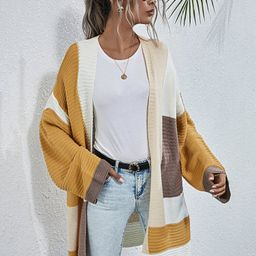 Colorblock Longline Knit Cardigan | SHEIN