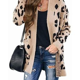 ZESICA Women's Long Sleeves Open Front Leopard Print Button Down Knitted Sweater Cardigan Coat Ou... | Amazon (US)