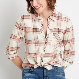 Multi Plaid Button Down Long Sleeve Shirt | Maurices