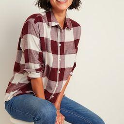 Oversized Plaid Flannel Boyfriend Tunic Shirt for Women   Old Navy (US)