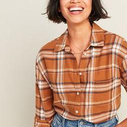 Oversized Plaid Flannel Boyfriend Tunic Shirt for Women | Old Navy (CA)