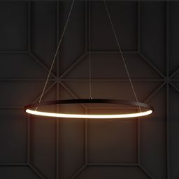 """Brice 23.7"""" Round Integrated LED Metal Chandelier, Matte Black by JONATHAN Y (Black) 