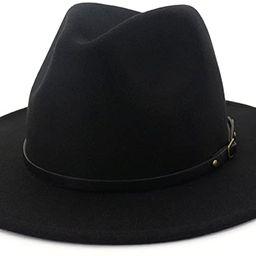 Lisianthus Women Wide Brim Wool Fedora Panama Hat with Belt Buckle   Amazon (US)