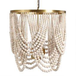Large Whitewash Wood Draped Bead 4 Light Chandelier | World Market