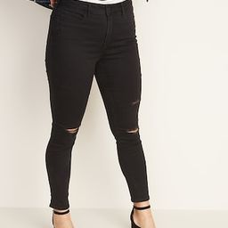 High-Waisted Distressed Rockstar Super Skinny Jeans For Women | Old Navy (US)