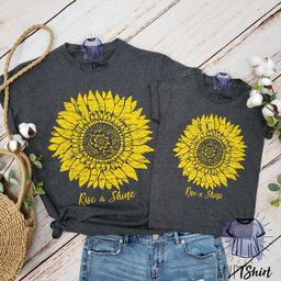 Sunflower Shirt, Botanical Shirt, Sunflower Birthday, Autumn Shirt, Mommy and Me Outfit , Vintage...   Etsy (US)