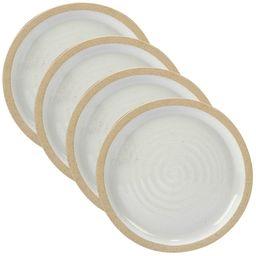 """Certified International Artisan Ceramic Dinner Plates 10.8"""""""" White/Brown - Set of 4   Target"""